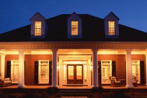 Outdoor lighting of brick home