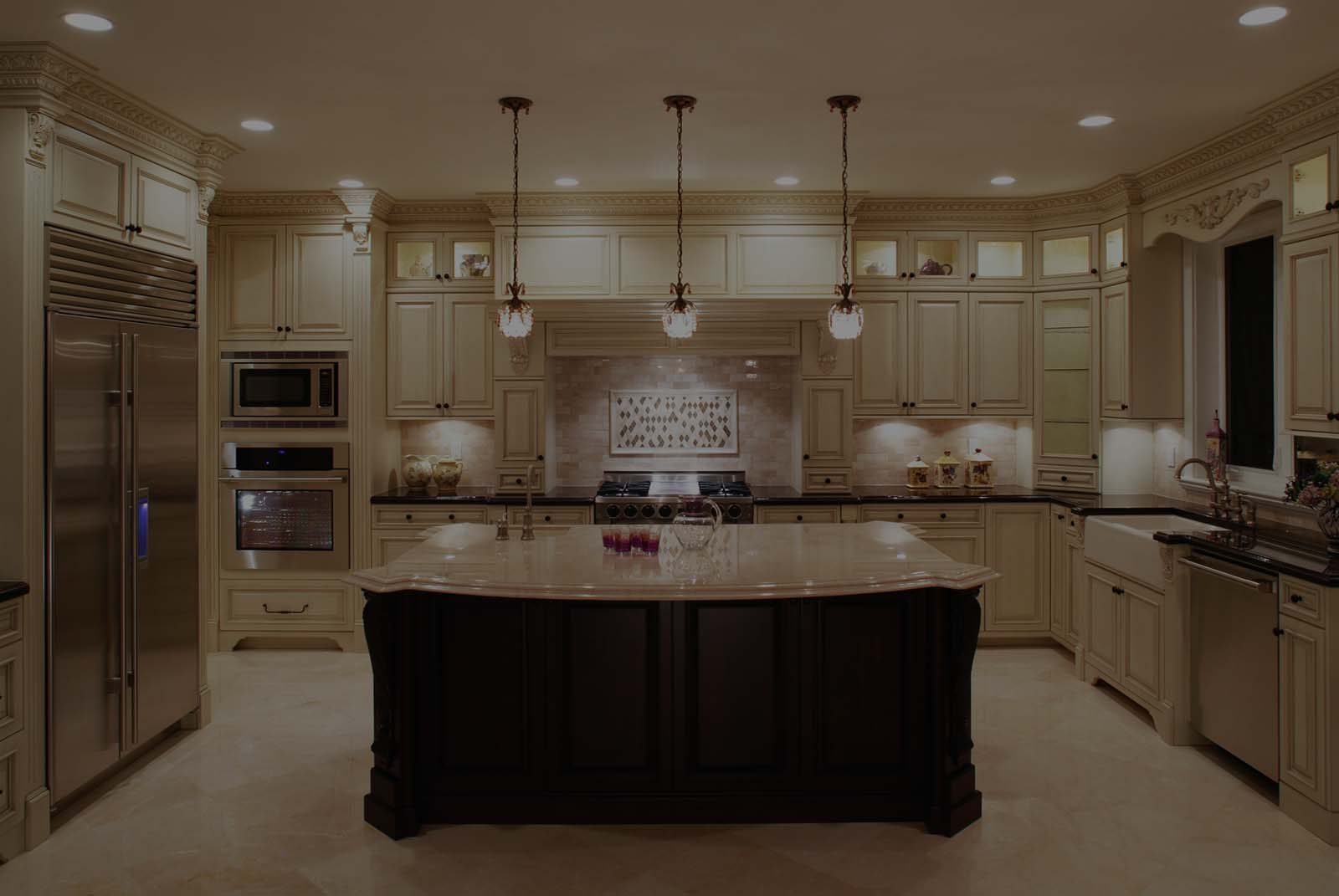 Interior of a beautiful custom kitchen